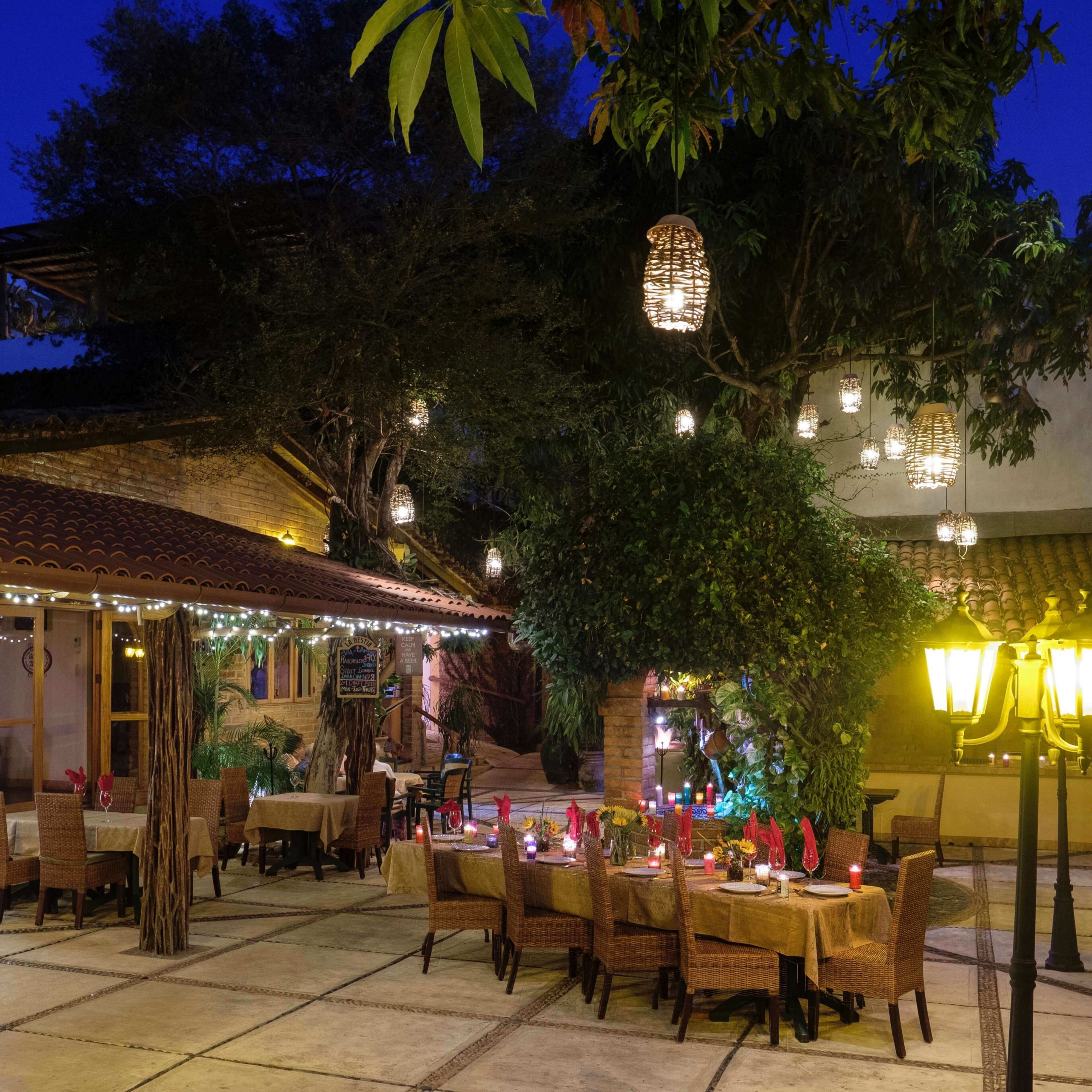 The Hacienda Alemana patio at nighttime