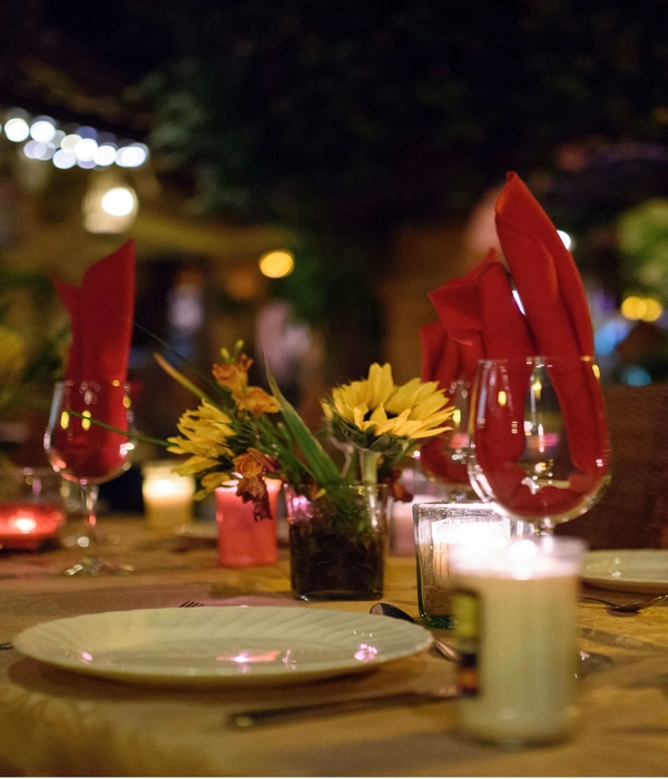 A dinner table at the Hacienda Alemana restaurant prepared for a special occasion