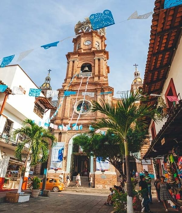 The central church of Puerto Vallarta by the ocean